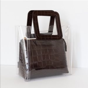 STAUD SHIRLEY MINI CROC EMBOSSED LEATHER tote